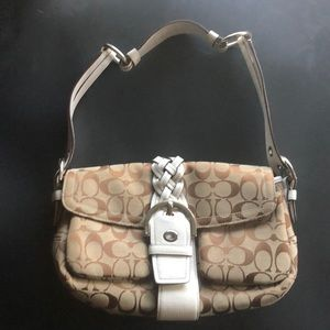 Brown Signature Fabric Shoulder Bag White Leather